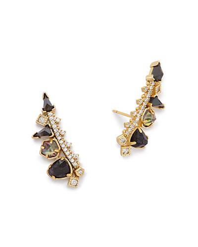 Clarissa Ear Climbers in Black Granite Mix