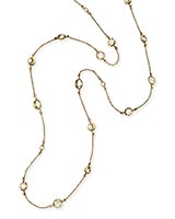 Augie Long Necklace in Antique Brass