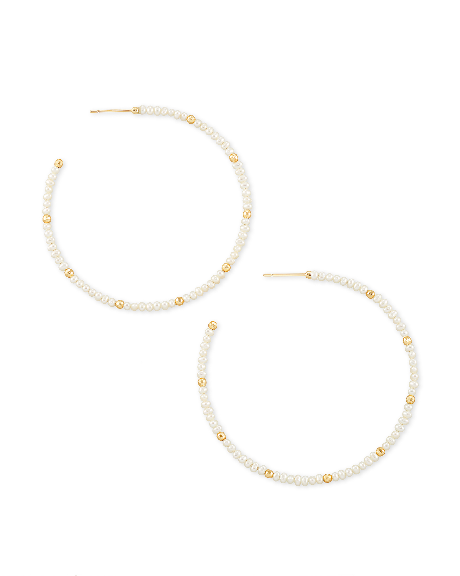 Scarlet Gold Hoop Earrings in White Pearl