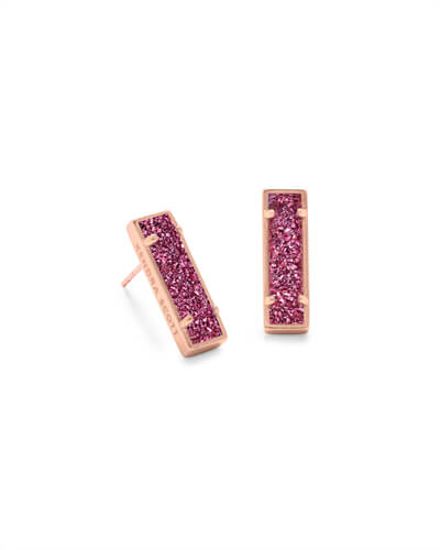 Lady Rose Gold Stud Earrings in Deep Fuchsia Drusy