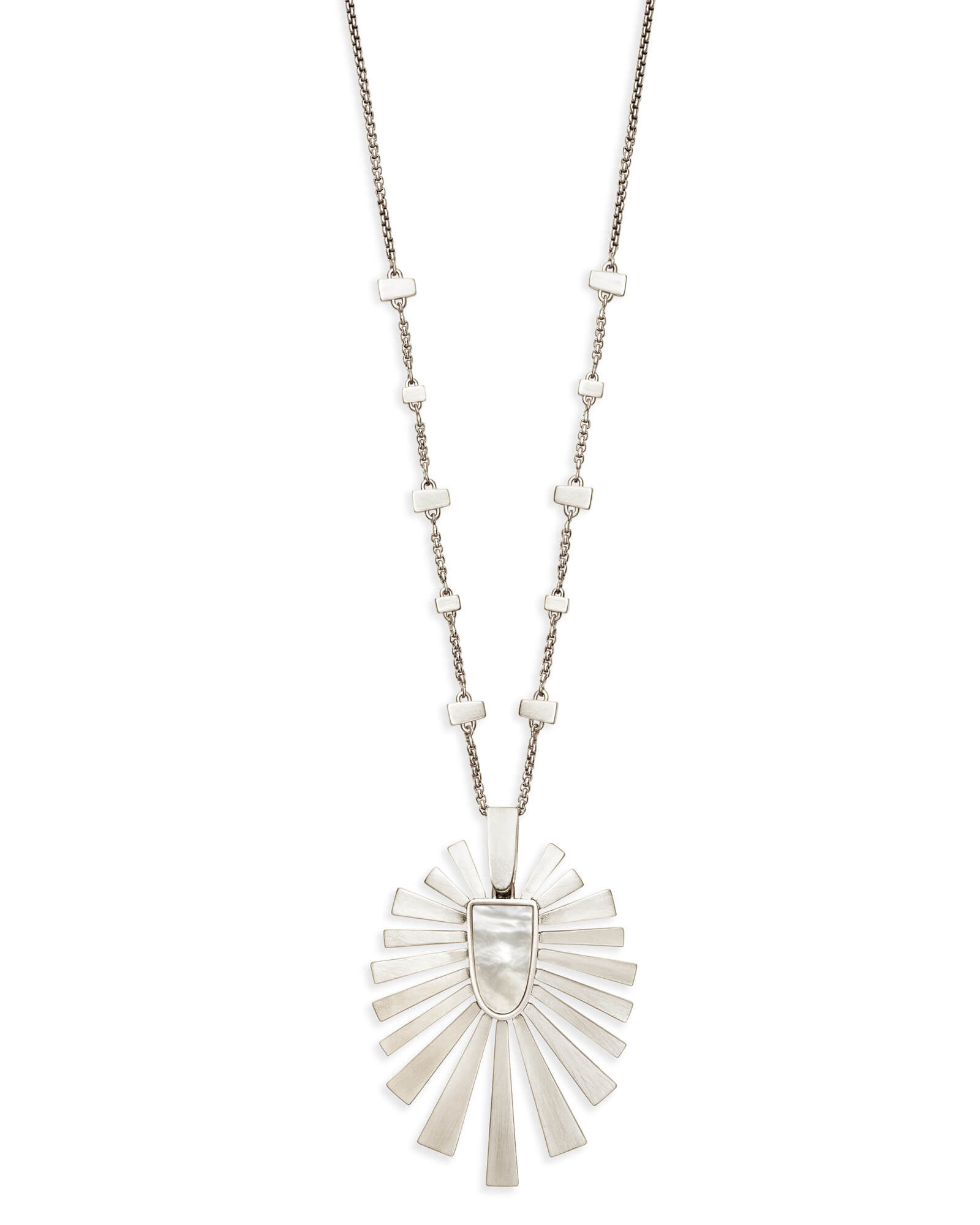 Paula Long Pendant Necklace in Silver