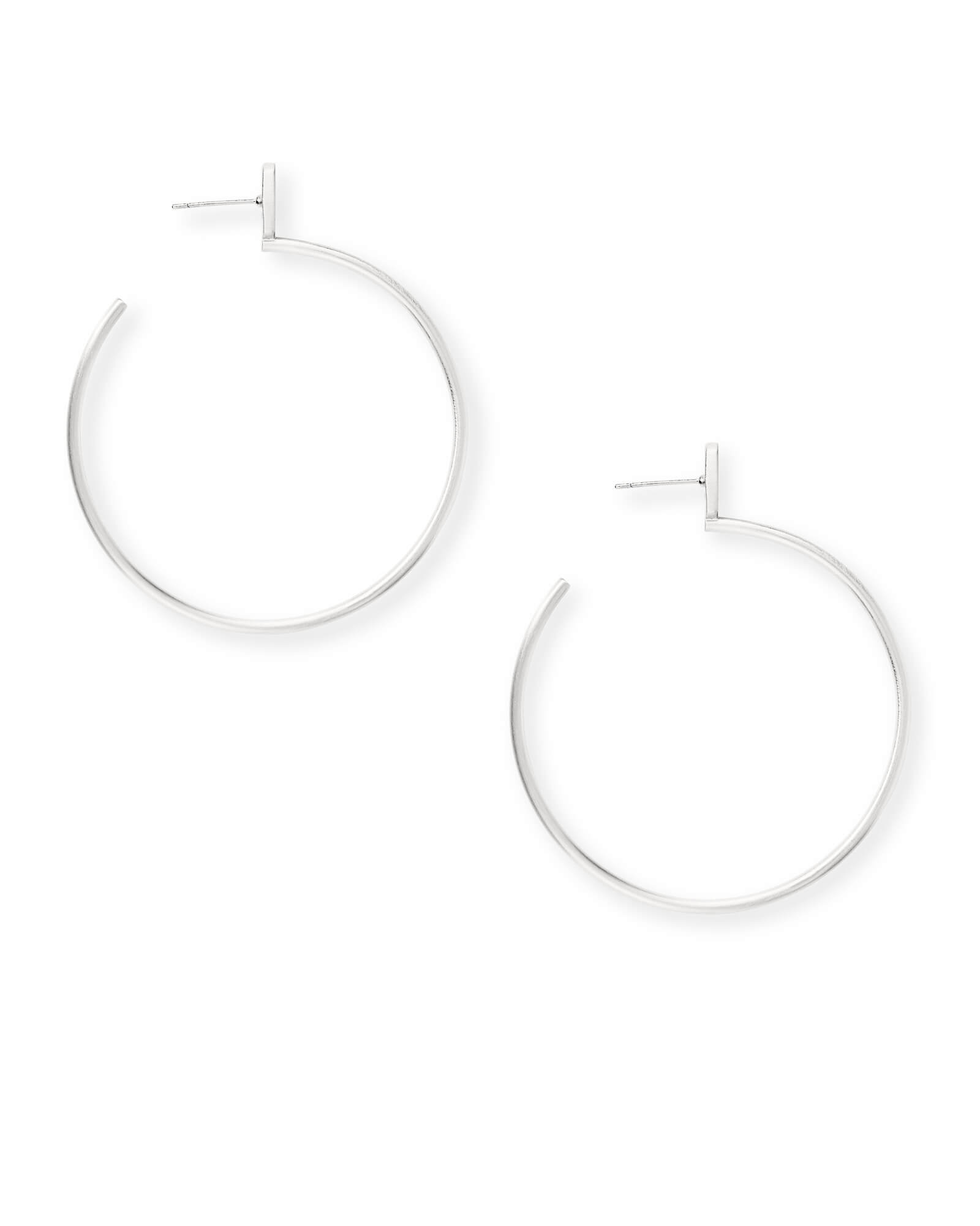 Pepper Hoop Earrings in Bright Silver