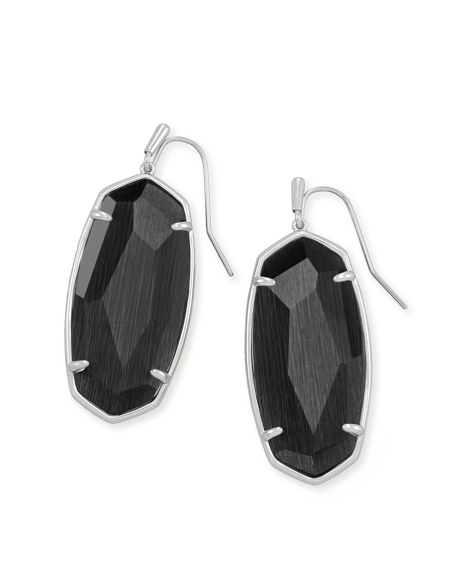 Faceted Elle Silver Drop Earrings in Black Cat's Eye