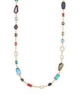 Joann Gold Long Necklace in Multi Mix