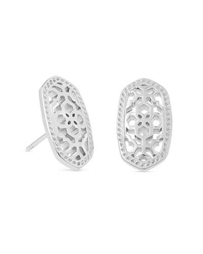 Ellie Silver Stud Earrings in Silver Filigree