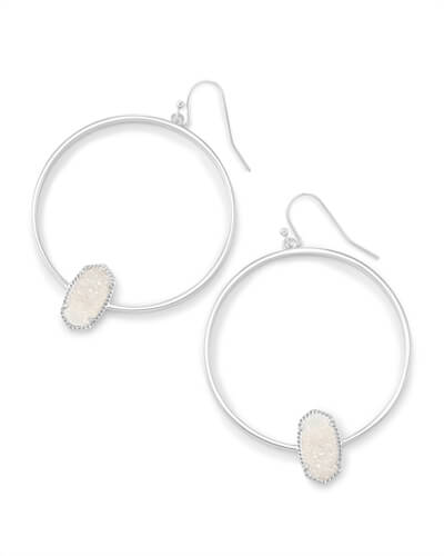 Elora Silver Hoop Earrings In Iridescent Drusy