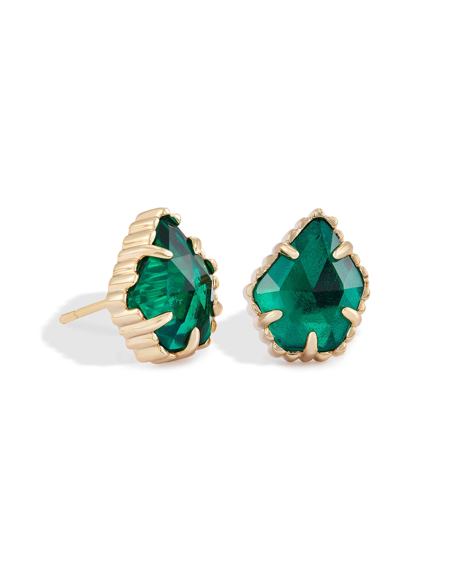 earrings in princess mm green lab created stud yellow gold x emerald cut