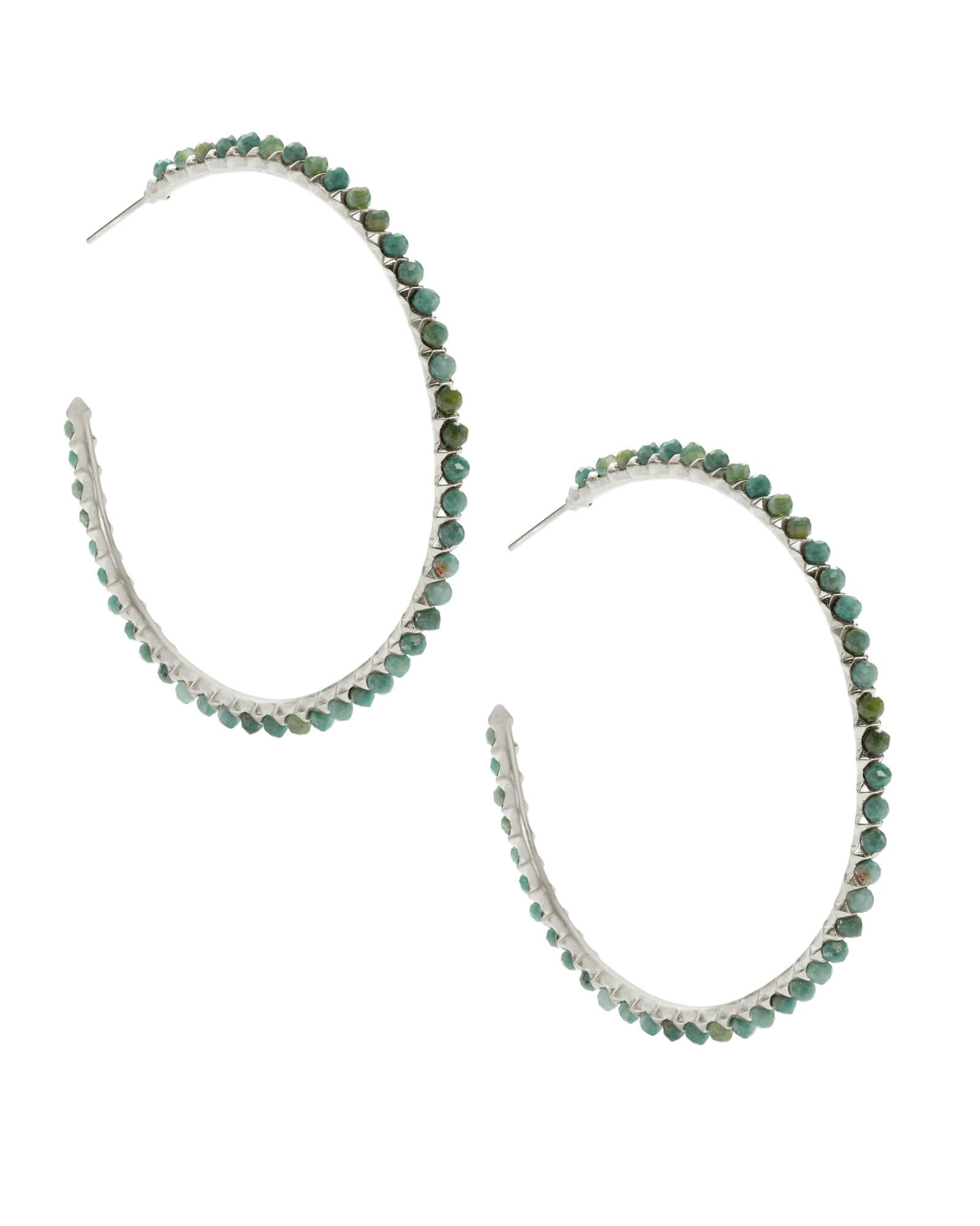 Birdie Silver Hoop Earrings in African Turquoise