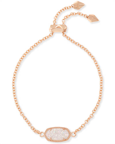 Elaina Rose Gold Adjustable Chain Bracelet in Iridescent Drusy