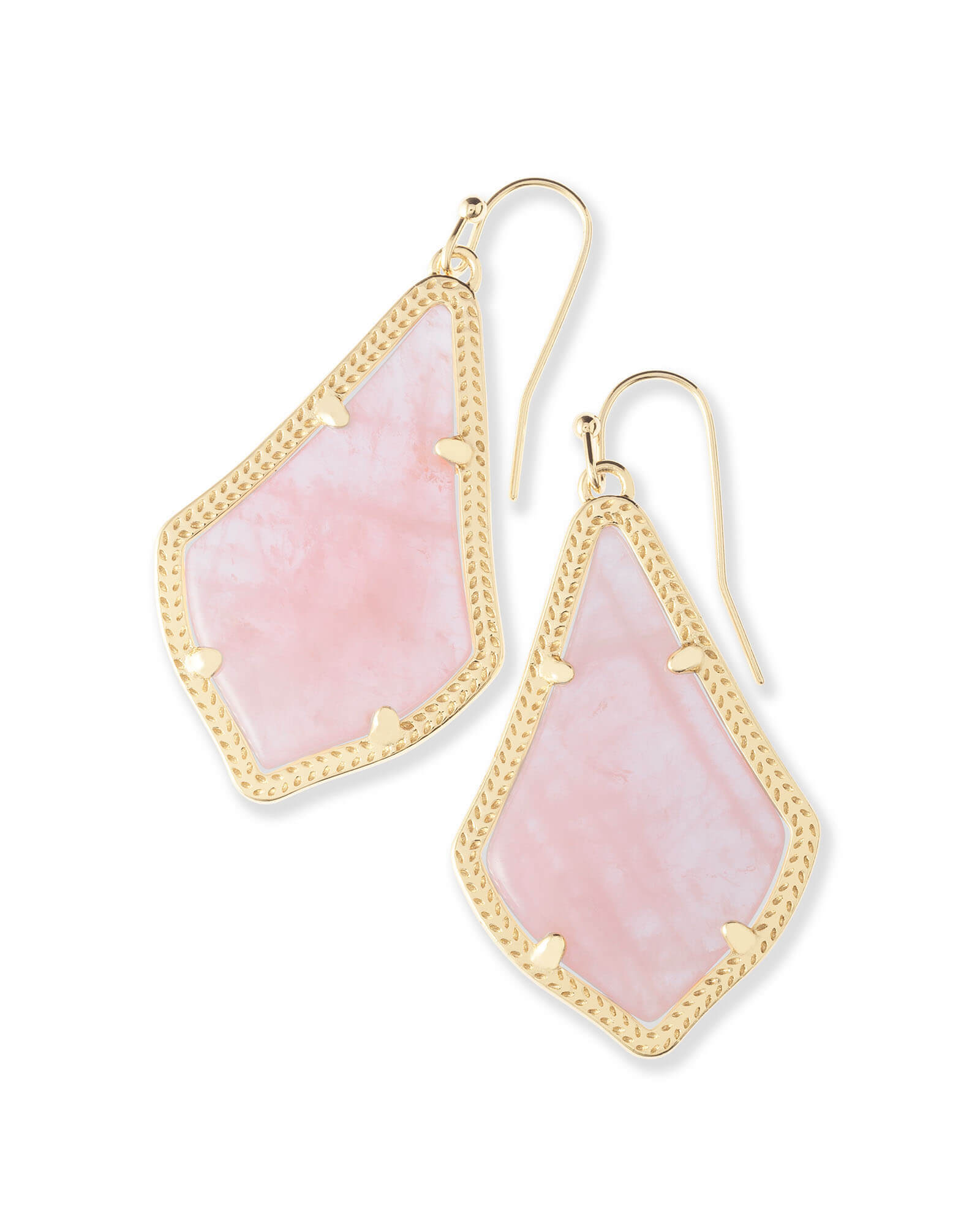 Alex Gold Drop Earrings in Rose Quartz