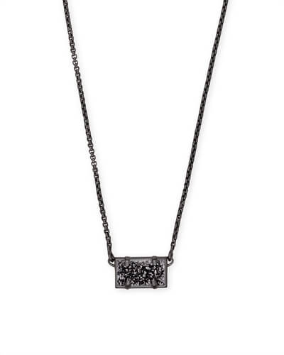 Pattie Gunmetal Pendant Necklace In Black Drusy