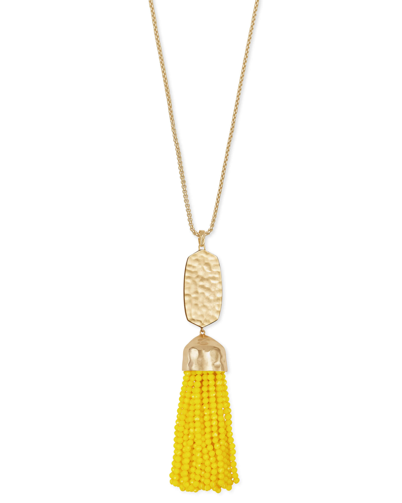 Monroe Gold Long Pendant Necklace in Yellow Opaque Glass