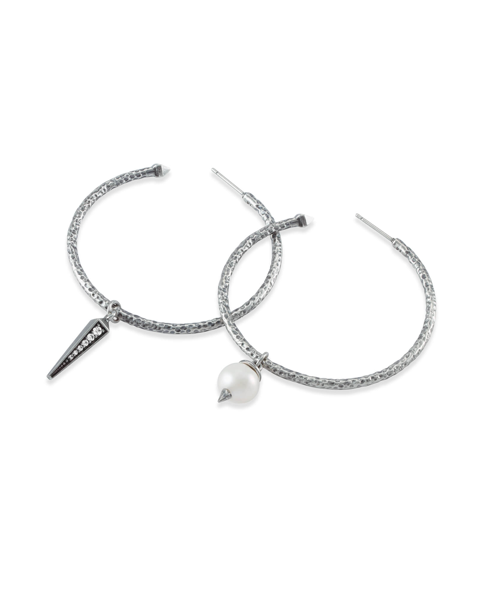 Duality Vintage Silver Charm Earrings Set in White Pearl