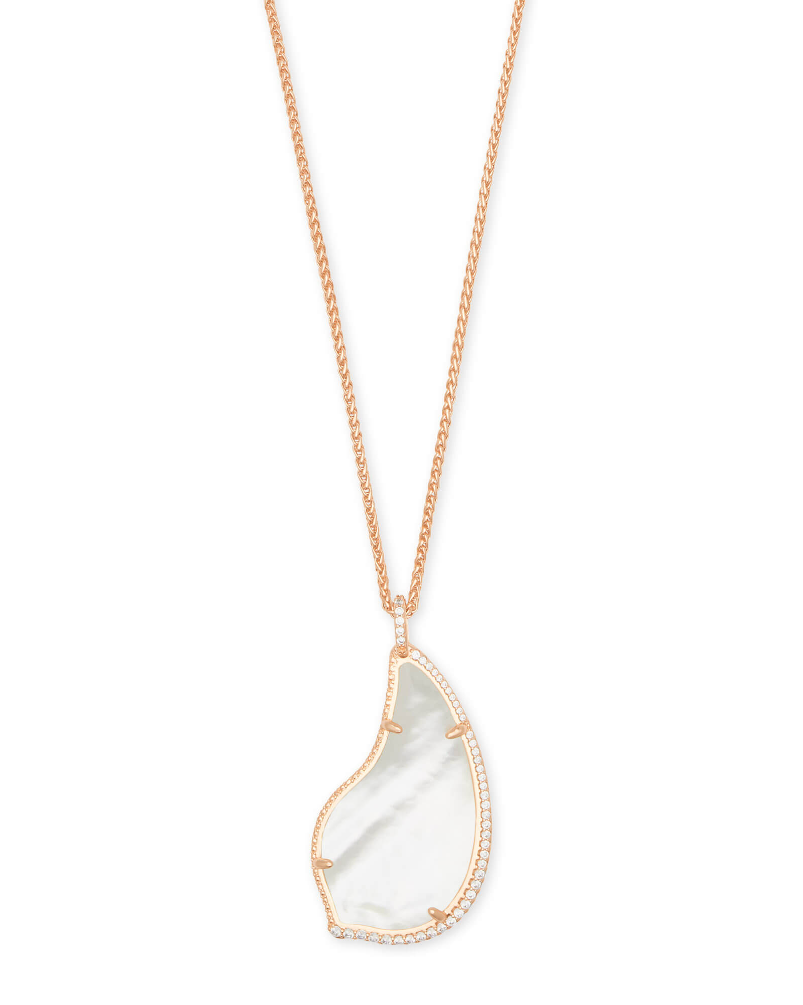 Kendra Scott Theodora Rose Gold Long Pendant Necklace in Mother of Pearl
