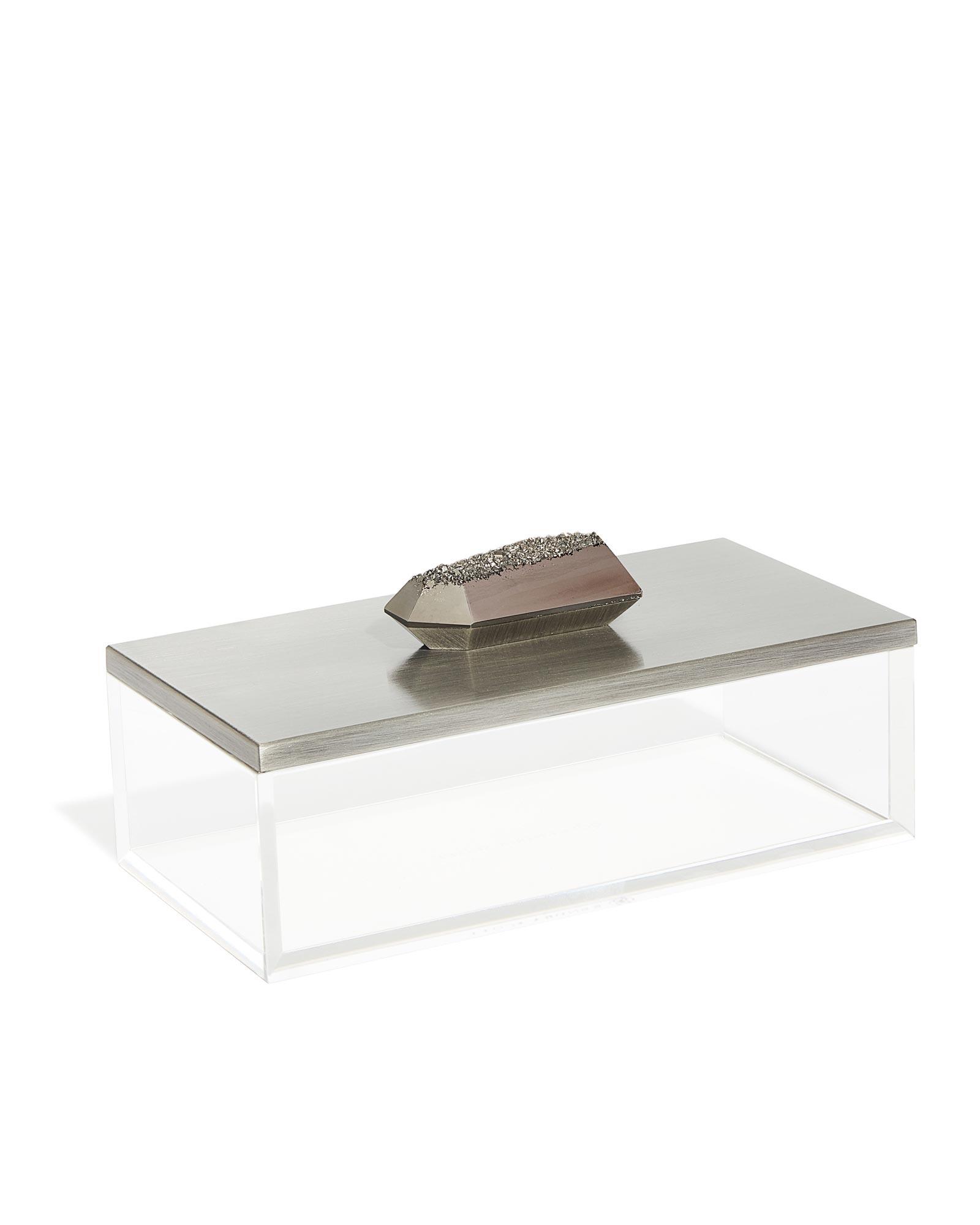 Rectangular Acrylic Box In Platinum Drusy