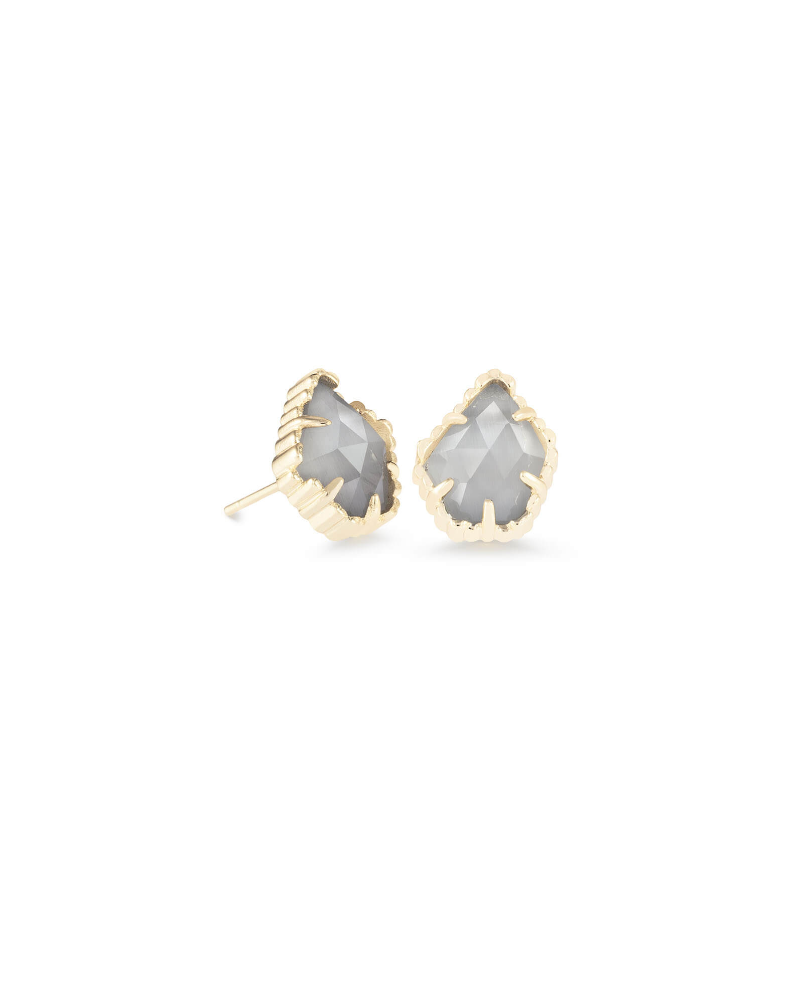 77b2eb0f1 Tessa Gold Stud Earrings in Slate Cats Eye   Kendra Scott