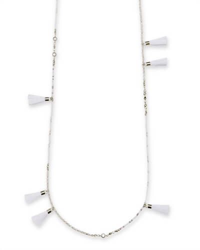 Augusta Silver Long Necklace In Ivory Mother of Pearl Mix