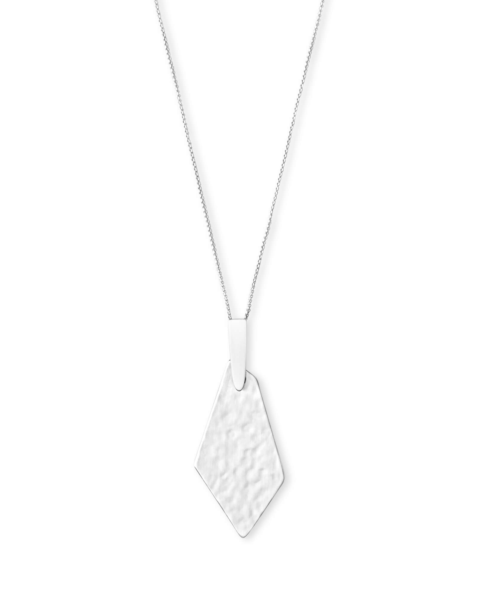 Brenton Long Pendant Necklace in Bright Silver