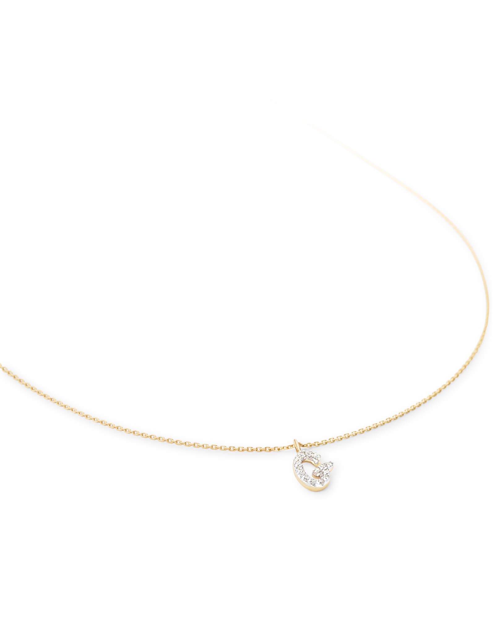Diamond Letter G Pendant Necklace in 14K Yellow Gold