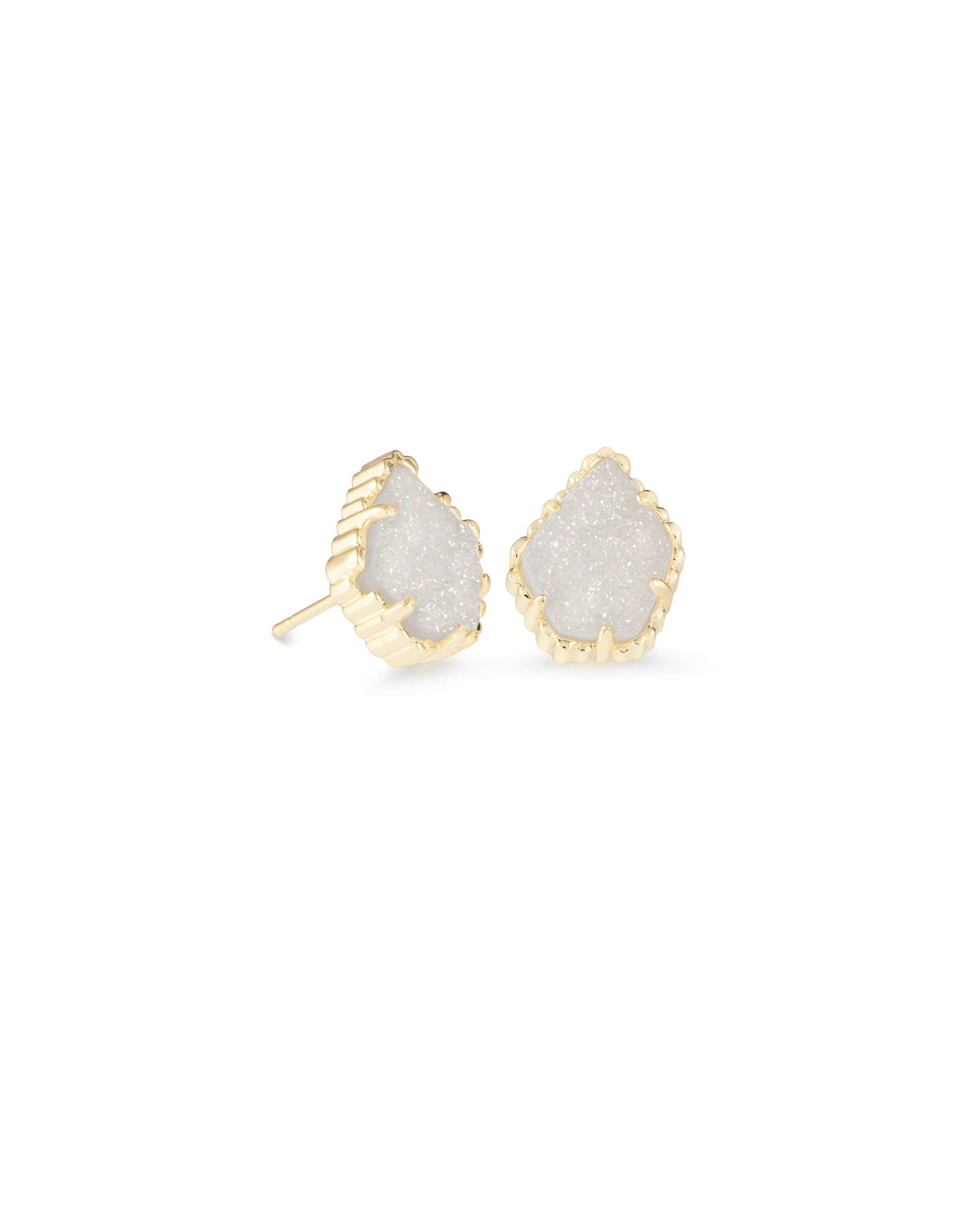 Tessa Gold Stud Earrings in Iridescent Drusy