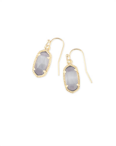 Lee Gold Drop Earrings in Slate Cats Eye