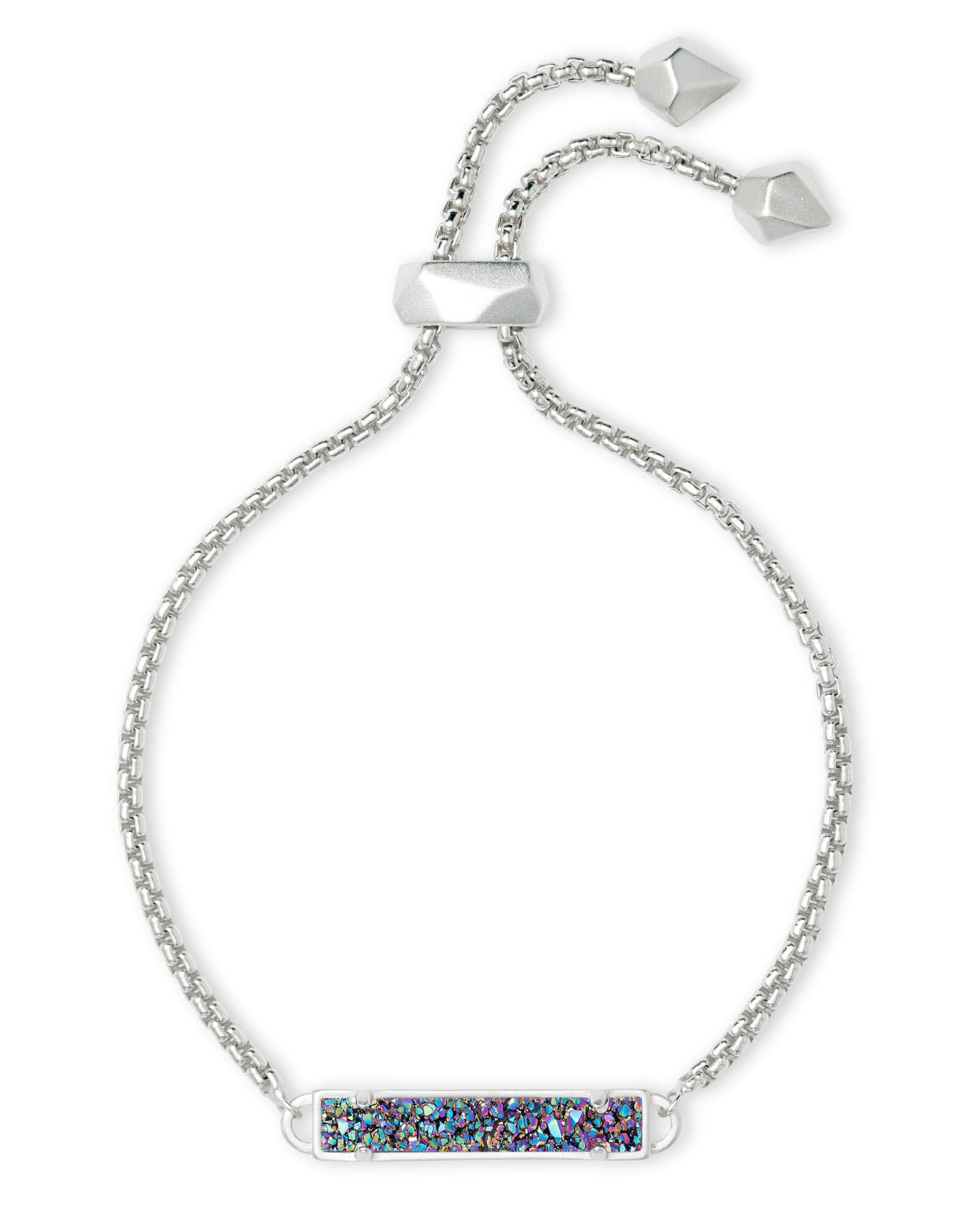 Stan Silver Adjustable Chain Bracelet in Multicolor Drusy
