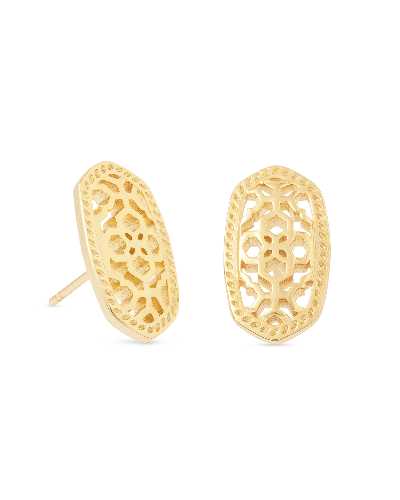 Ellie Gold Stud Earrings in Gold Filigree