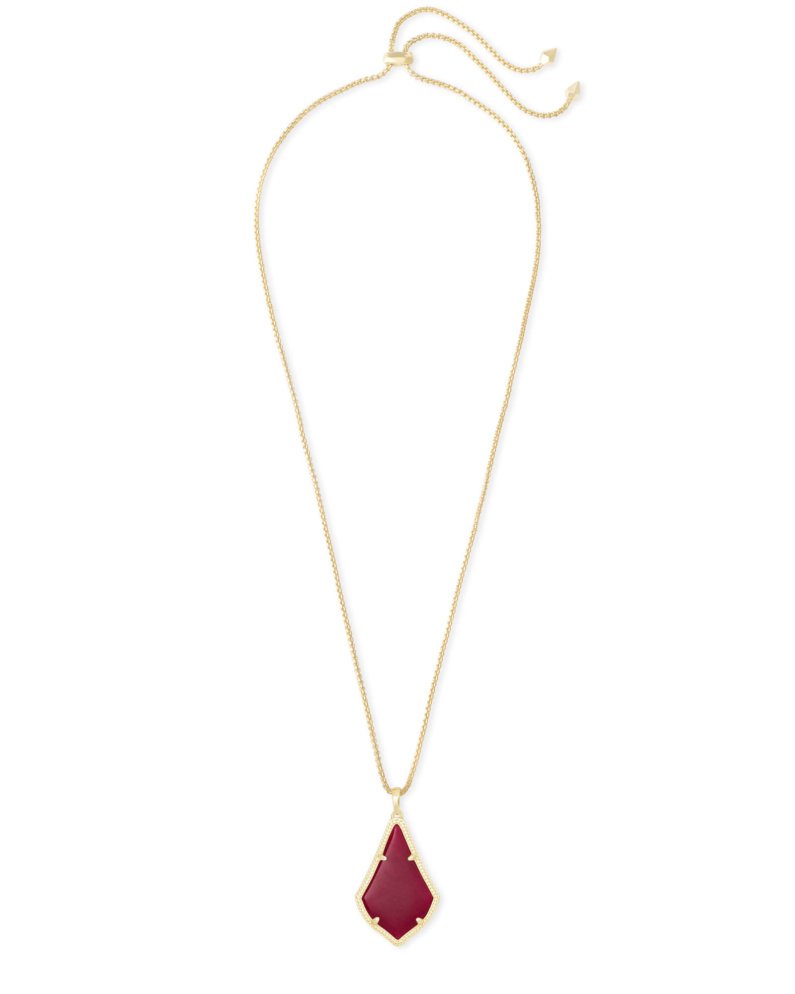 Alex Gold Pendant Necklace in Maroon Jade
