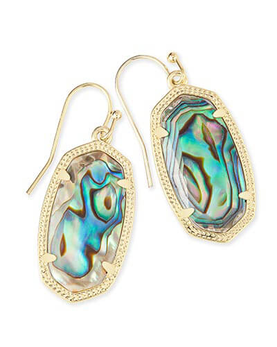 Dani Gold Drop Earrings in Abalone Shell