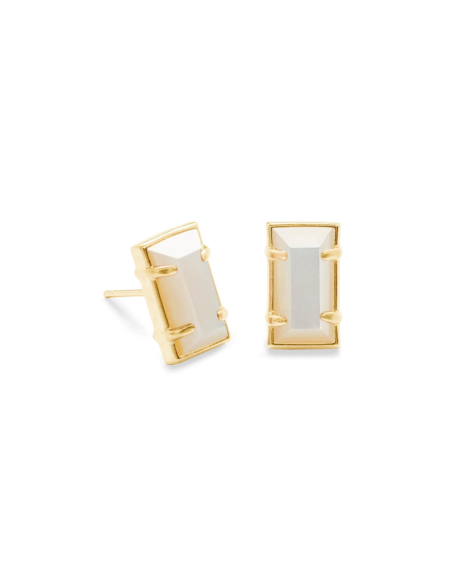 Paola Gold Stud Earrings in Ivory Pearl