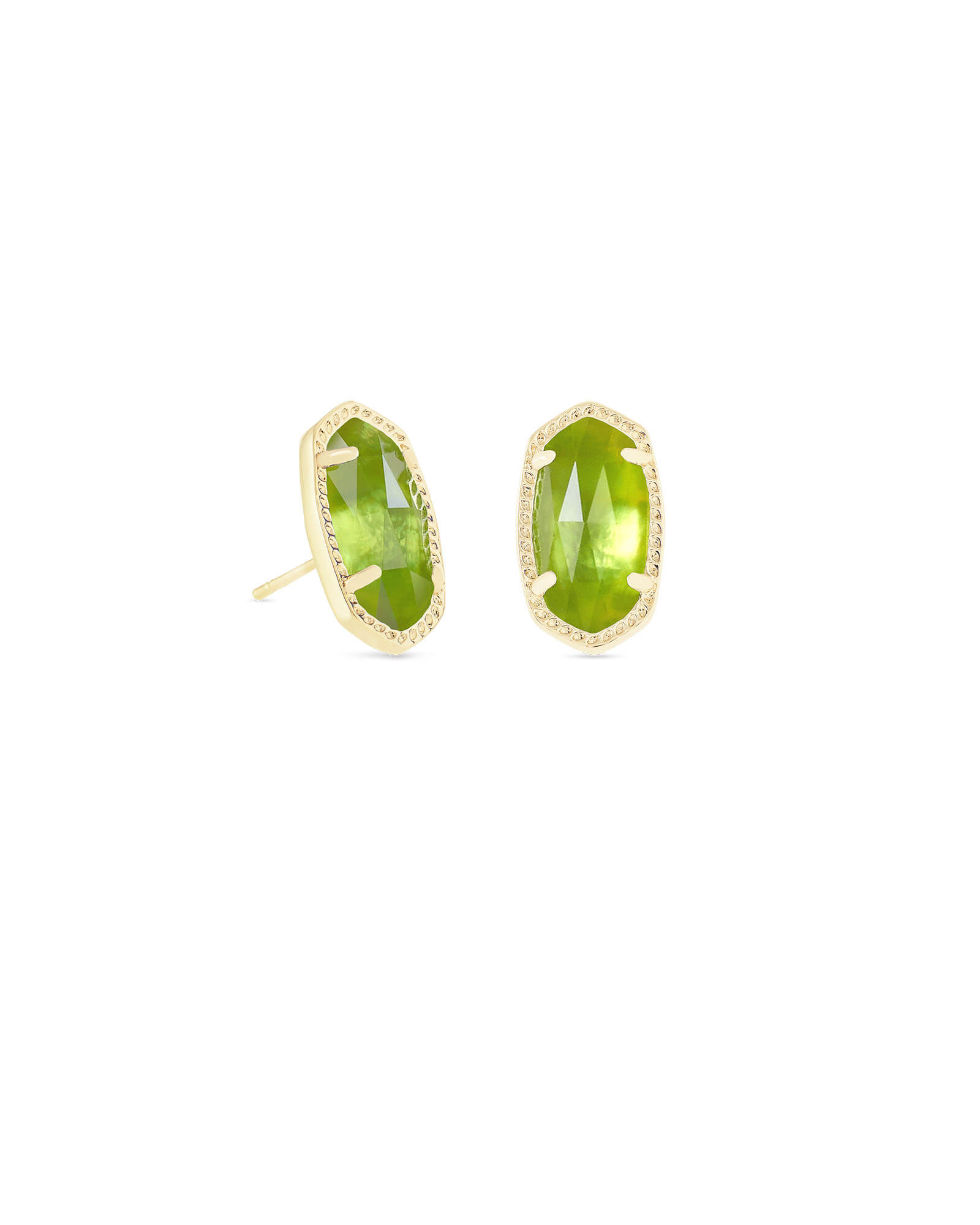 Ellie Gold Stud Earrings in Peridot Illusion