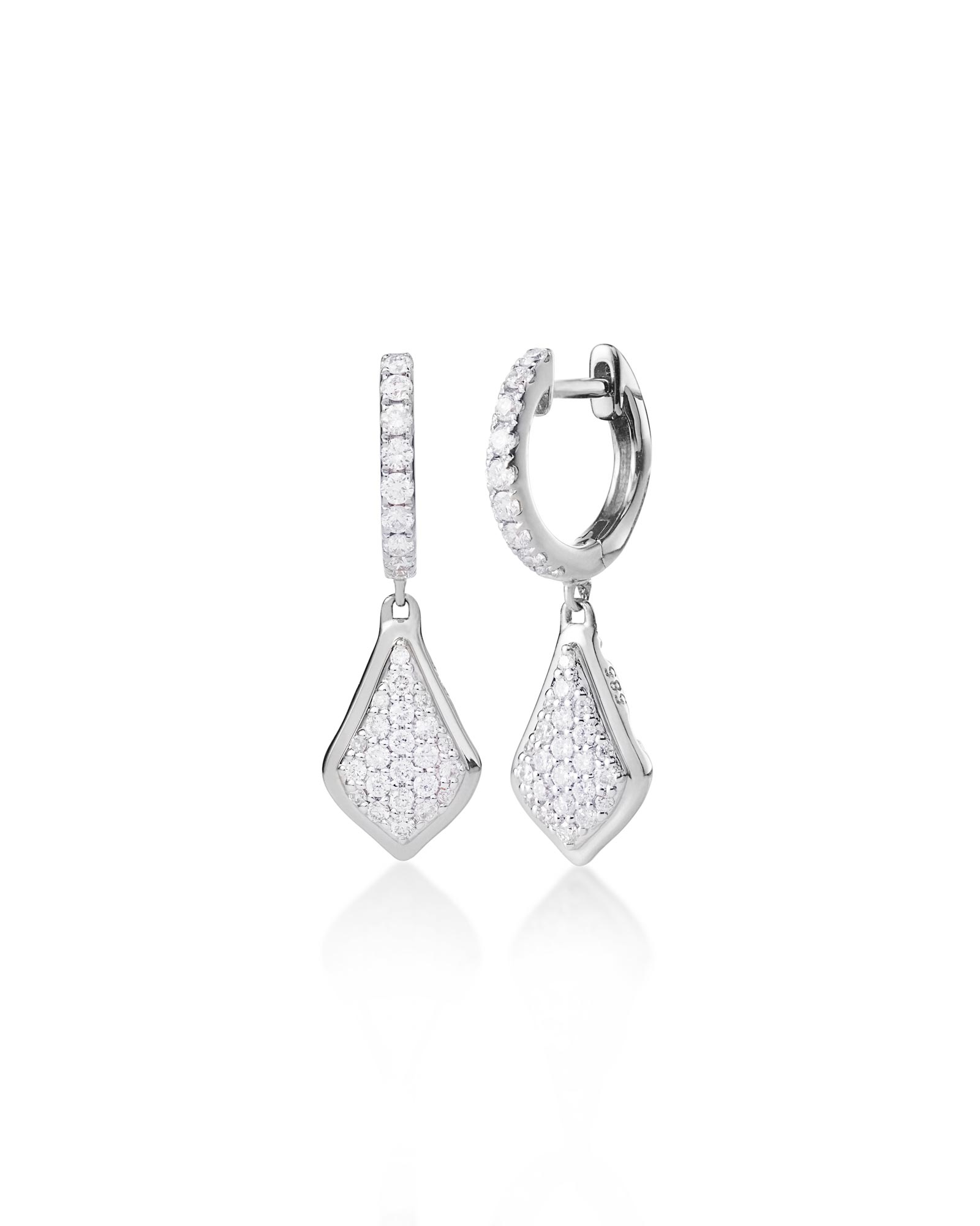 Luella Drop Earrings in Pave Diamond and 14k White Gold