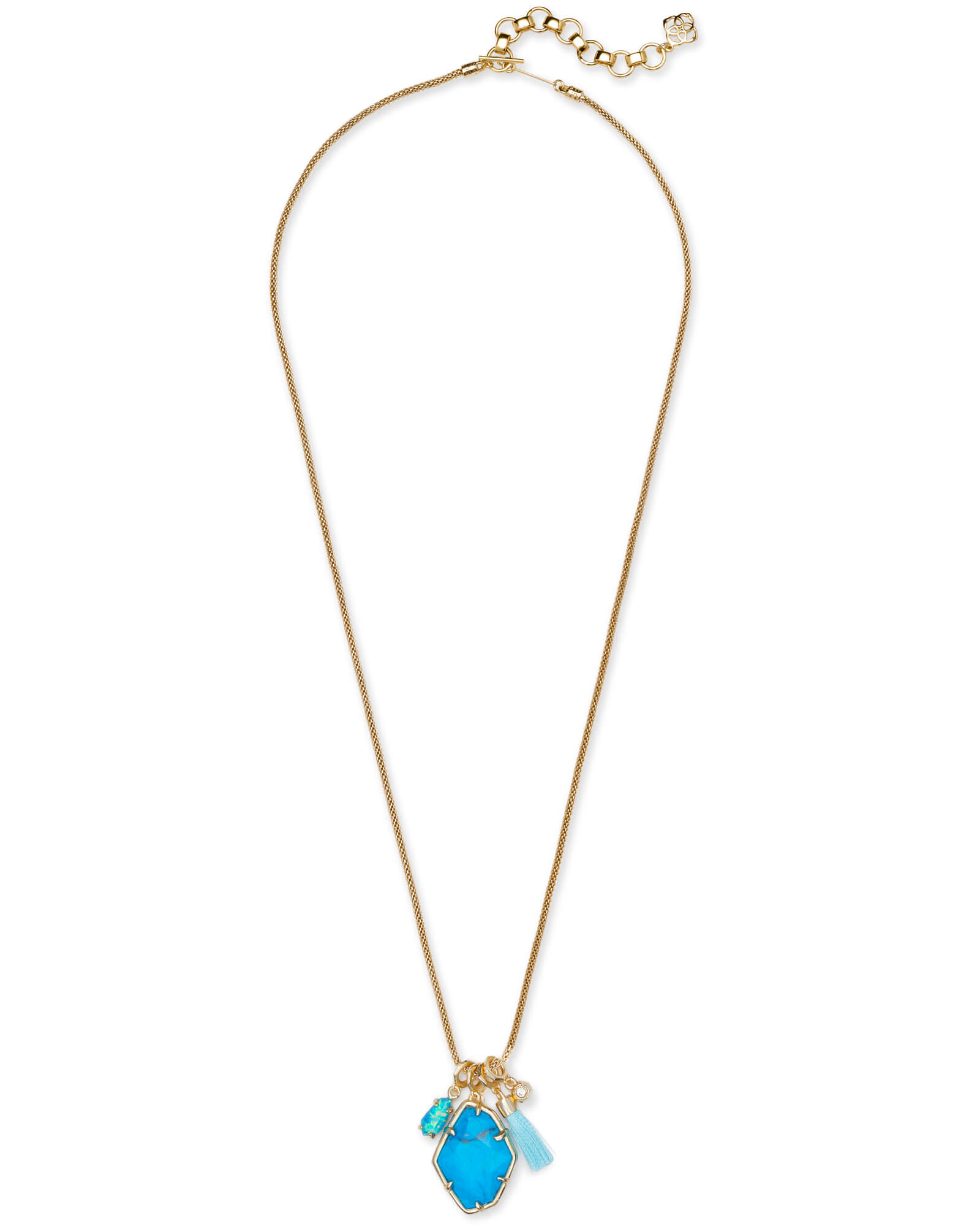 Hailey Gold Long Pendant Necklace In Aqua Howlite