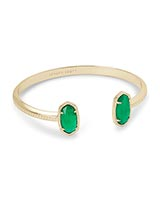 Elton Gold Cuff Bracelet in Jade Green Illusion