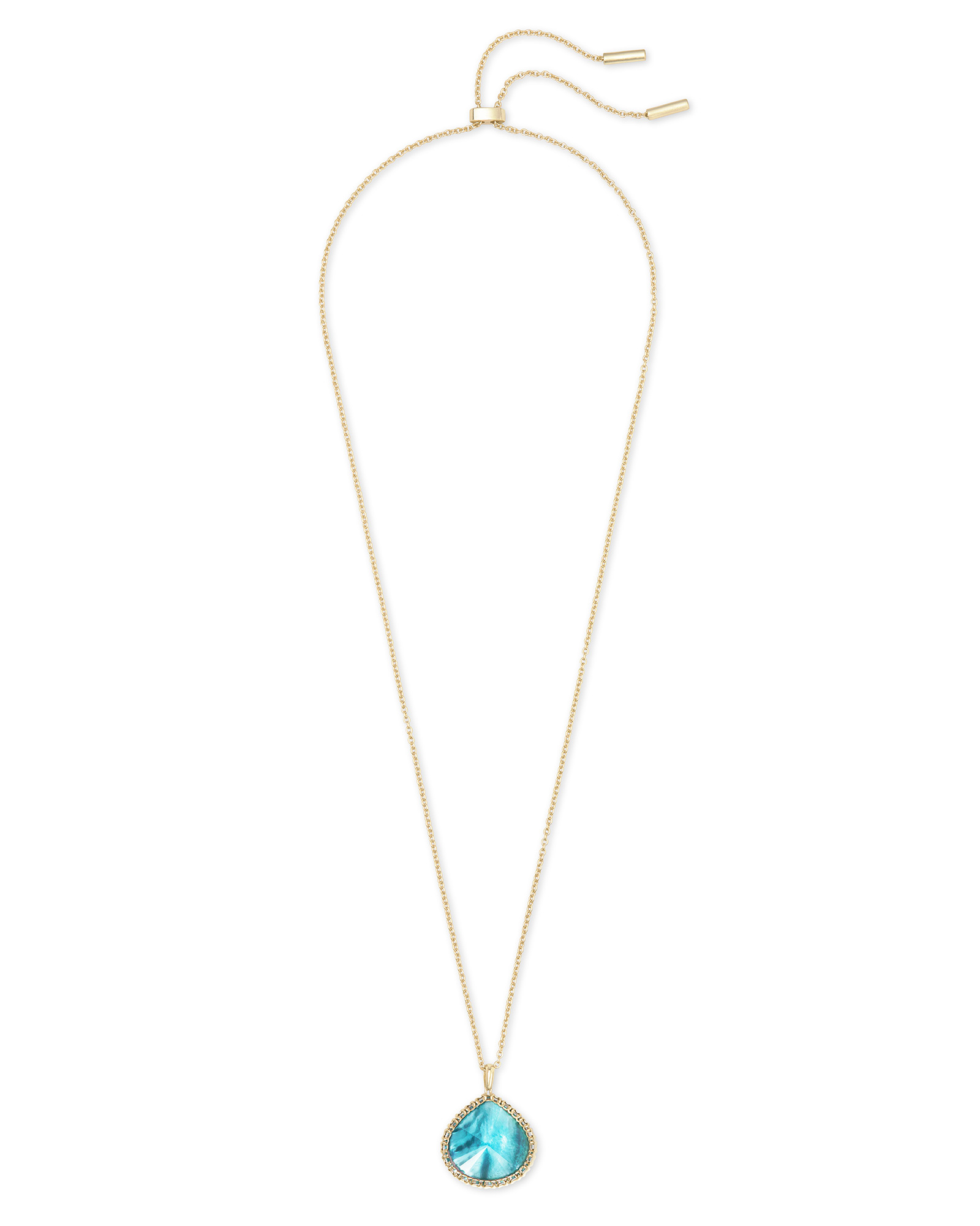 Kenzie Gold Pendant Necklace In Aqua Illusion