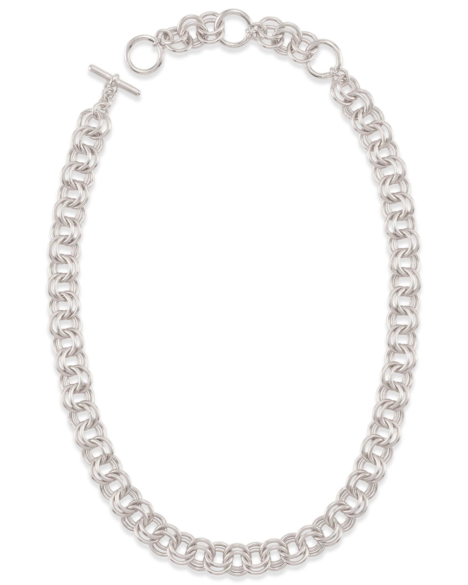 "18"" Double Chain Link Necklace in Silver"