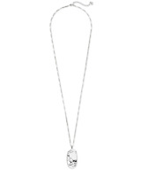 Faceted Reid Silver Long Pendant Necklace in White Howlite