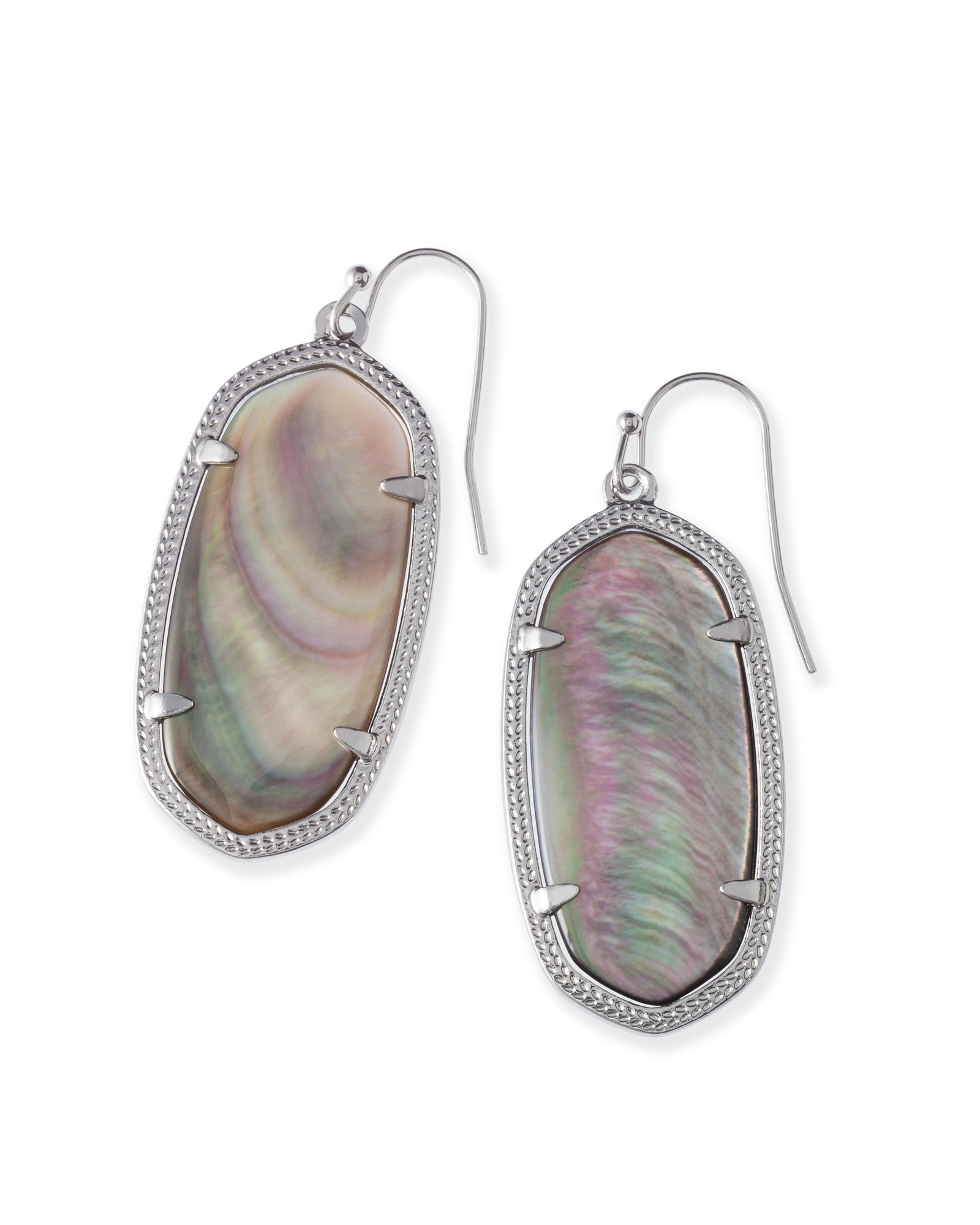 Elle Bright Silver Drop Earrings in Black Mother-of-Pearl