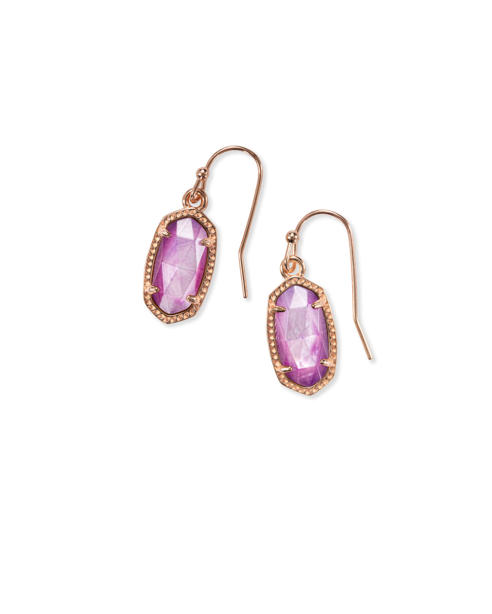 Lee Rose Gold Drop Earrings in Lilac Mother of Pearl