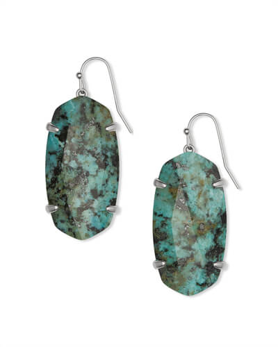 Esme Drop Silver Earrings in African Turquoise