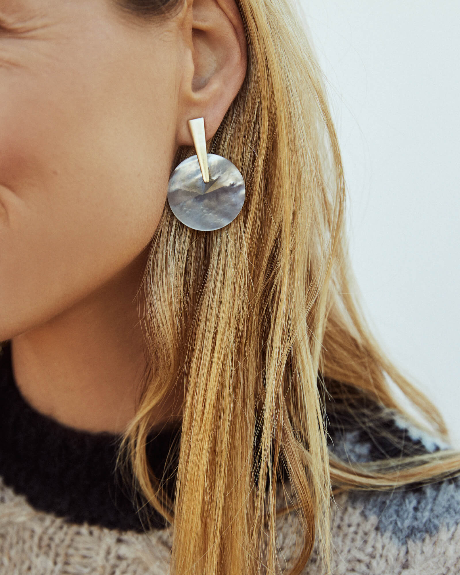 Jolie Navy Gunmetal Drop Earrings in Indigo Illusion