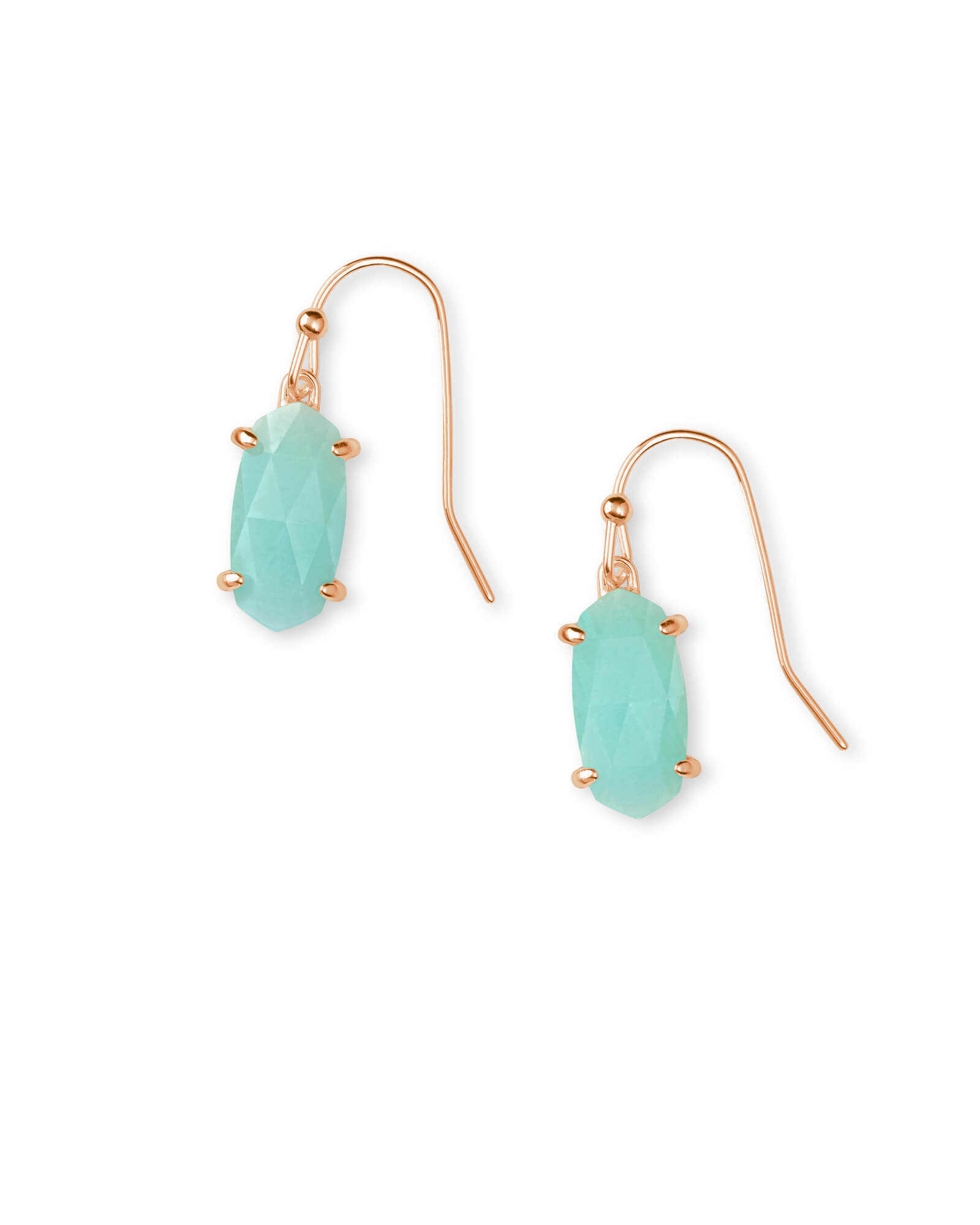 Lemmi Rose Gold Drop Earrings in Teal Quartzite