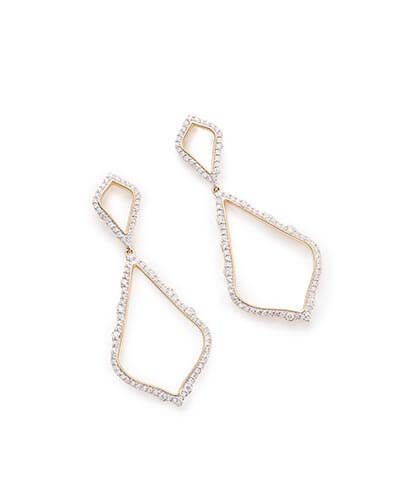 Alexa Statement Earrings in Pave Diamond and 14k Yellow Gold
