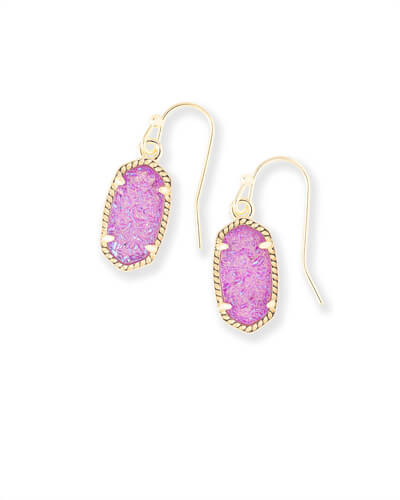 Lee Gold Drop Earrings in Violet Drusy