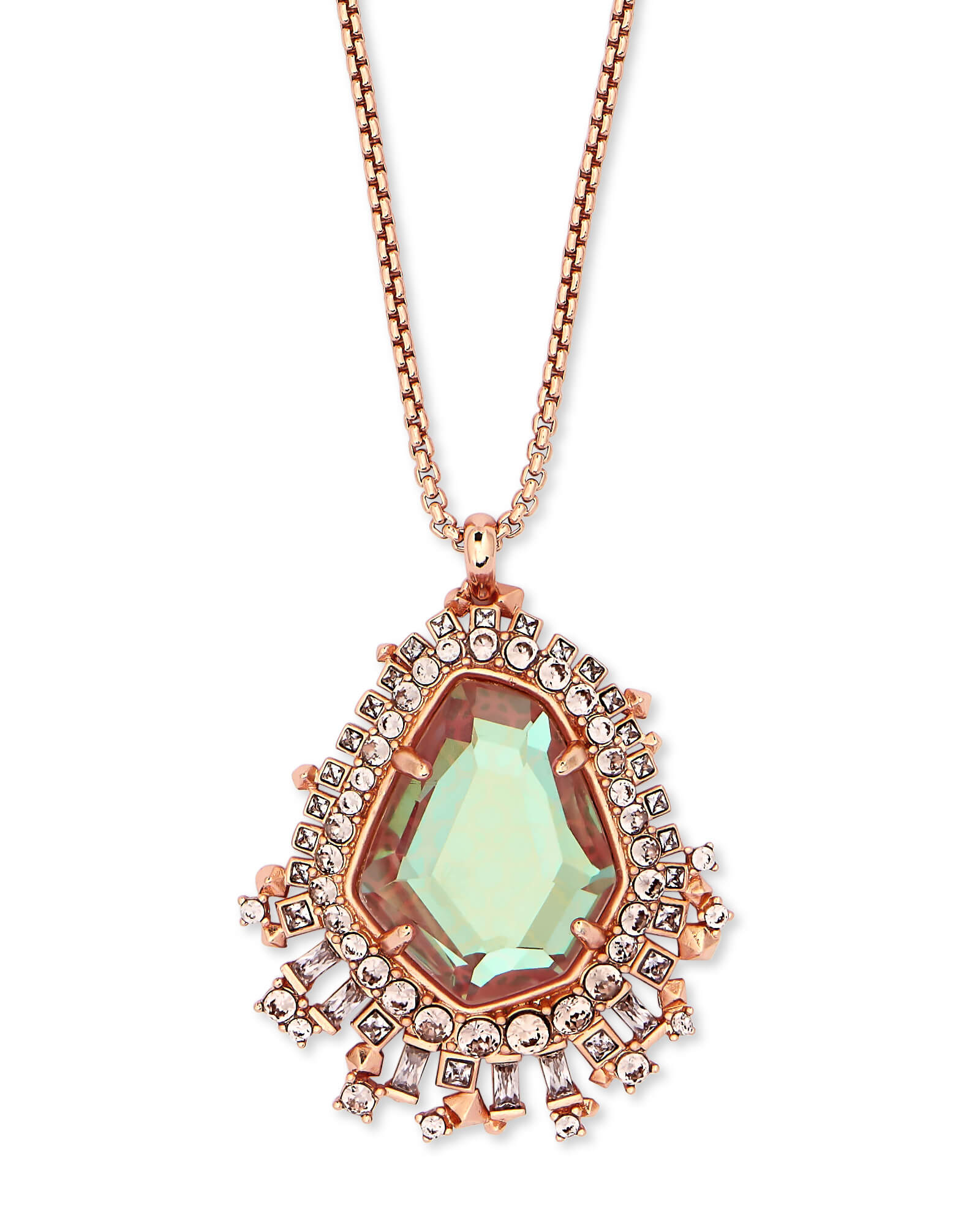 Daenerys Rose Gold Long Pendant Necklace In Blush Dichroic