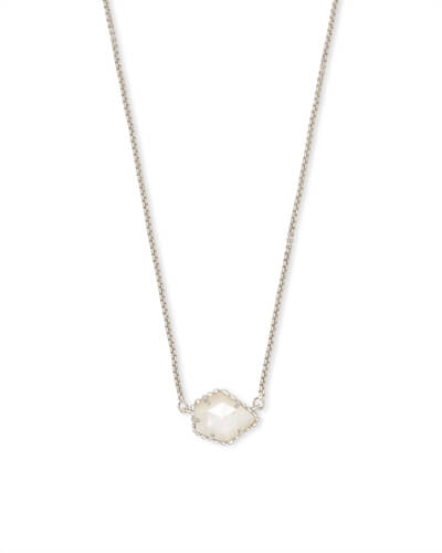 Tess Silver Small Pendant Necklace In Ivory Pearl