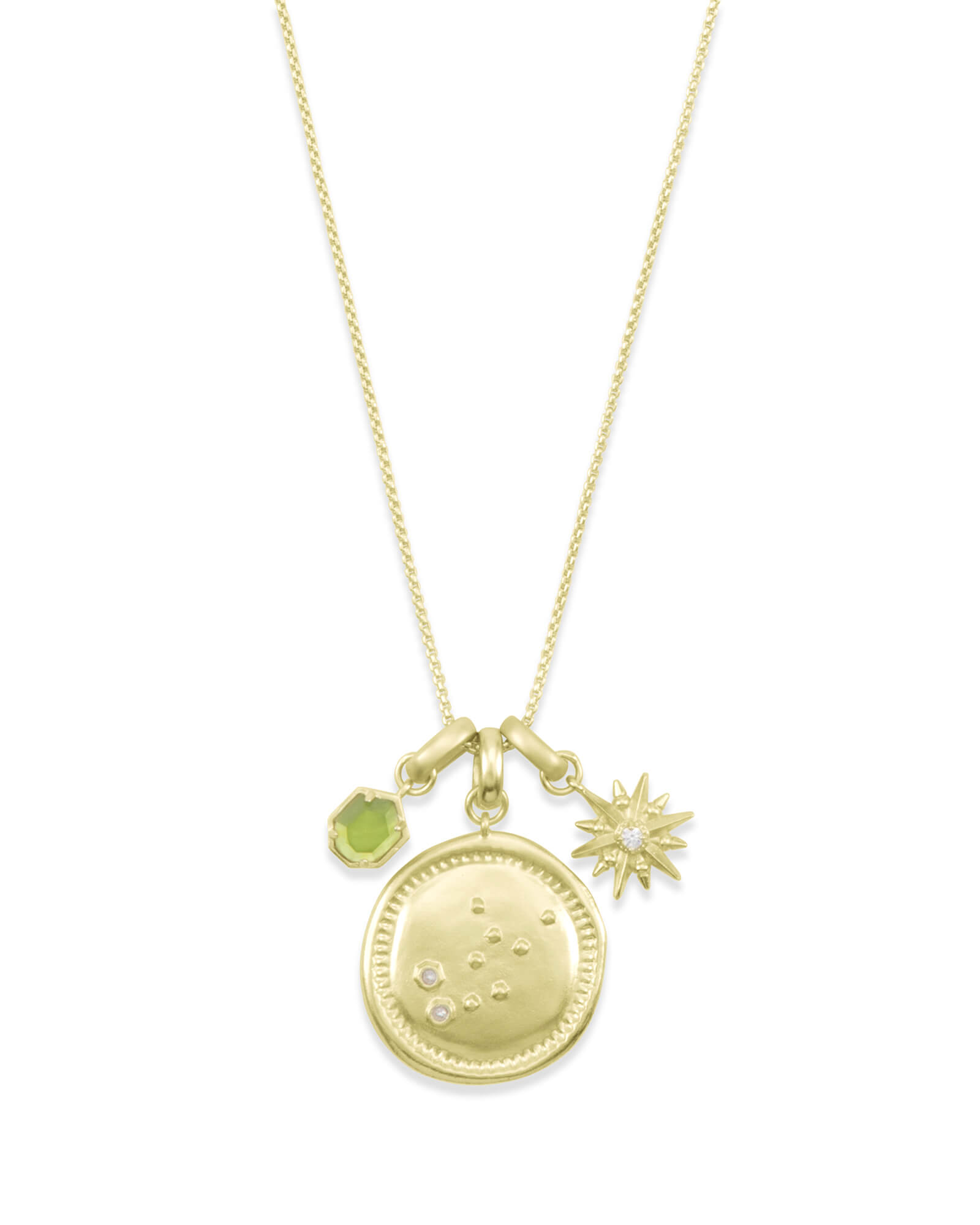 August Virgo Charm Necklace Set in Gold