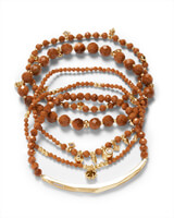 Supak Gold Beaded Bracelet Set in Goldstone Glass