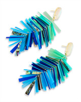 Justyne Gold Statement Earrings in Blue Mix Shell