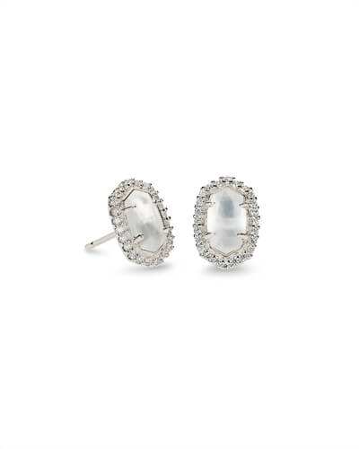 Cade Silver Stud Earrings in Ivory Pearl